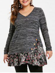 Plus Size Pleated Mesh Hem T-shirt -