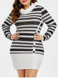 Plus Size Buttoned Striped Mini Dress -