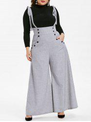 Plus Size High Waist Suspender Wide Leg Pants -