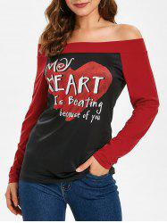 Off The Shoulder Valentines Day Letter Print Top -