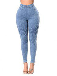 High Waist Ruched Skinny Jeans -
