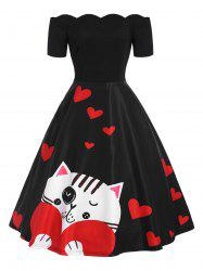 Off The Shoulder Valentines Day Heart Print Dress -