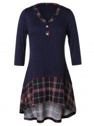 Plus Size Plaid Panel Tunic T Shirt -