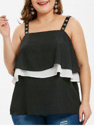 Plus Size Layered Overlay Grommets Tank Top -