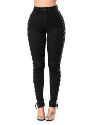 High Waisted Lace Up Skinny Jeans -