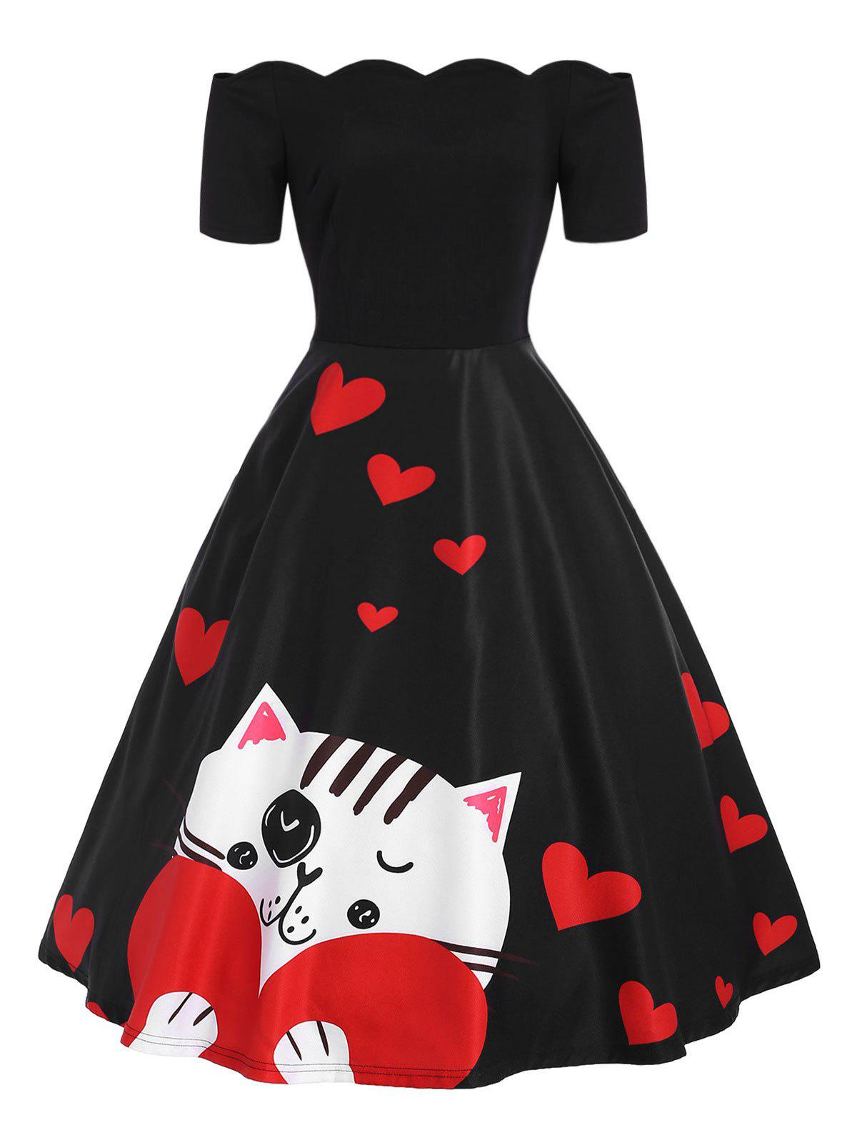 Shops Off The Shoulder Valentines Day Heart Print Dress
