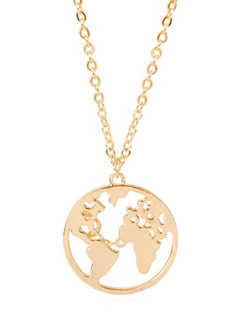 Affordable Round Pendant of Hollow Worldmap Necklace