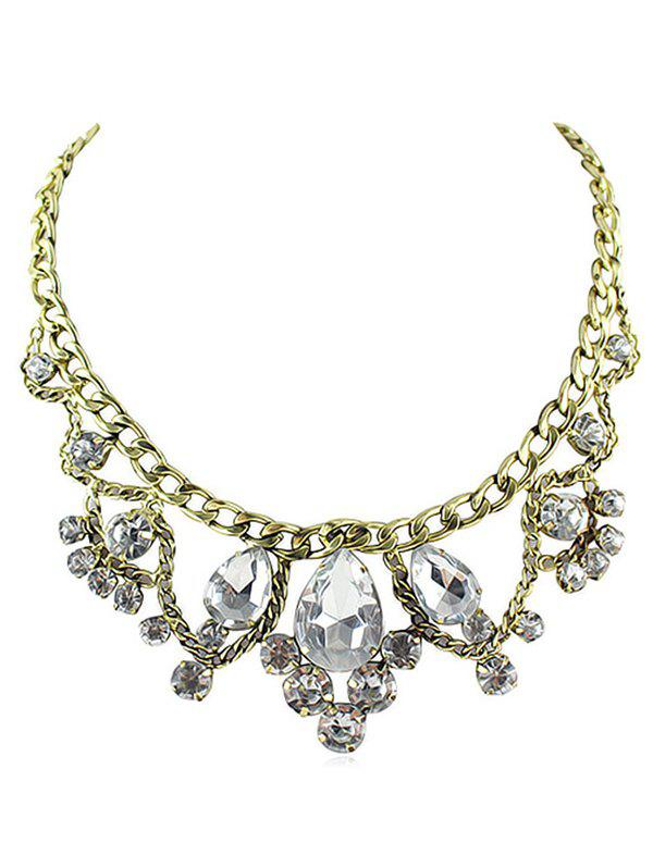 Fancy Water Drop Faux Crystal Statement Necklace