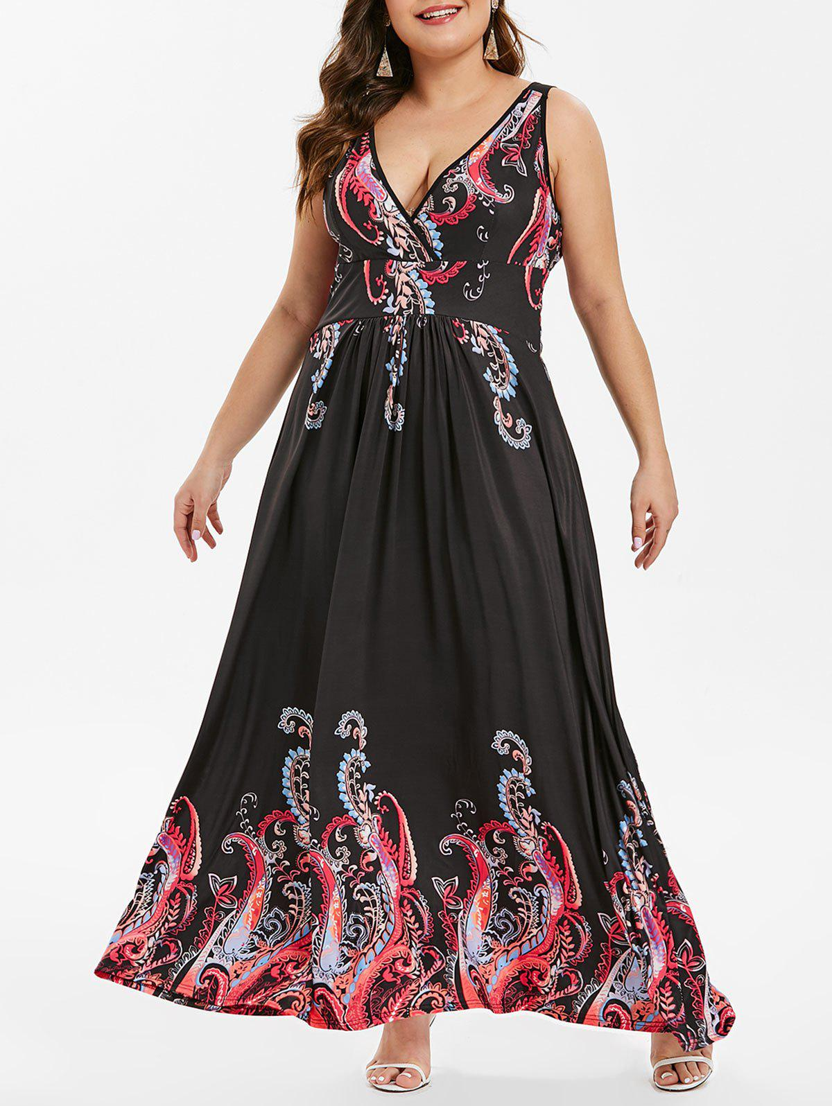 Affordable Tribal Print Plus Size Maxi Dress