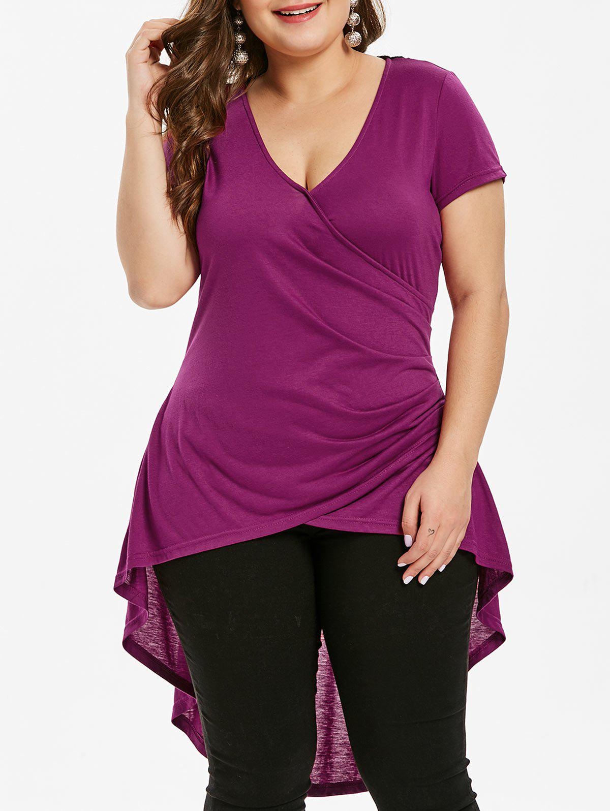 Back Lace Panel Plus Size High Low T-shirt