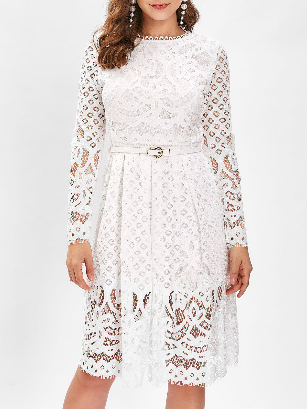 Hot Belted Lace A Line Dress