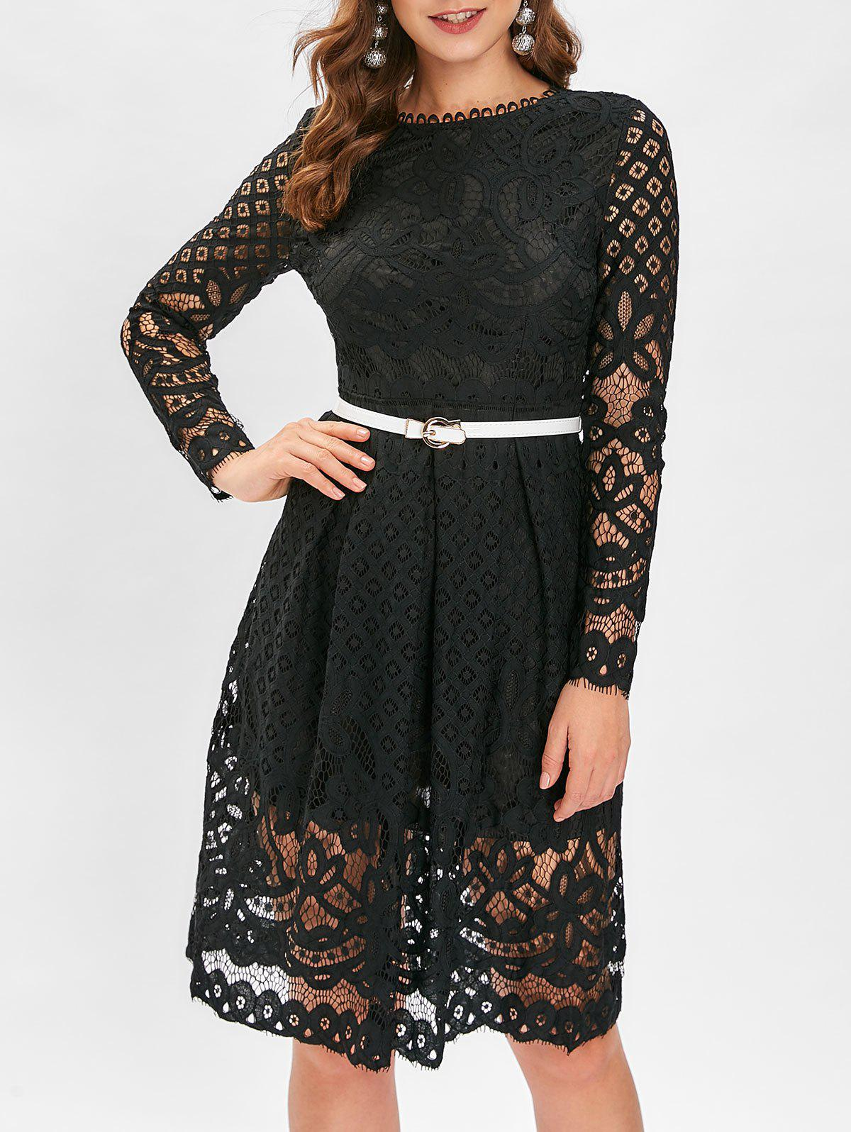 Chic Belted Lace A Line Dress