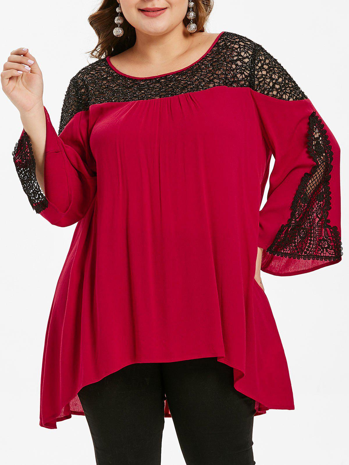Fashion Plus Size High Low Lace Insert Blouse