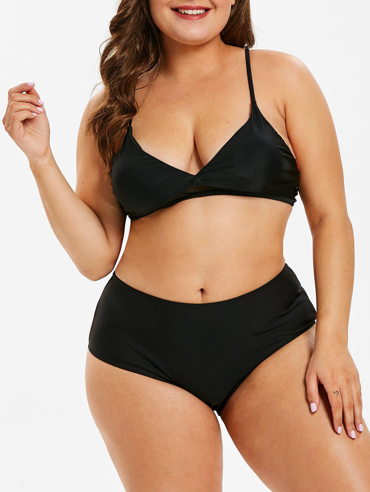 fa6f6add81d 31% OFF] Low Waist Plus Size Mesh Panel Bikini Set | Rosegal
