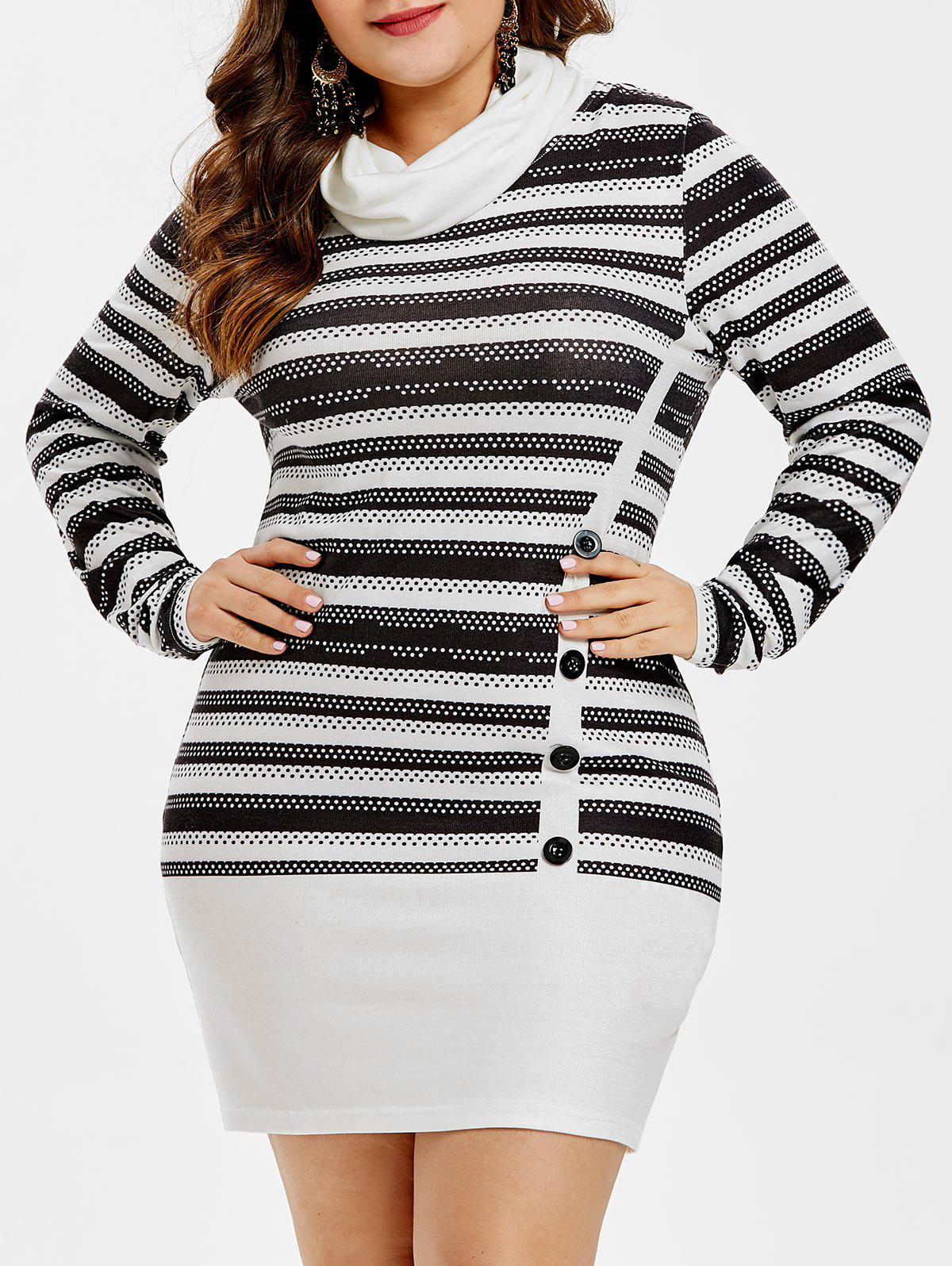 Store Plus Size Buttoned Striped Mini Dress