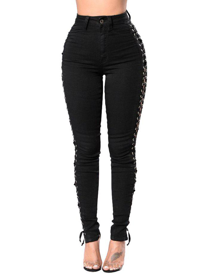 Unique High Waisted Lace Up Skinny Jeans
