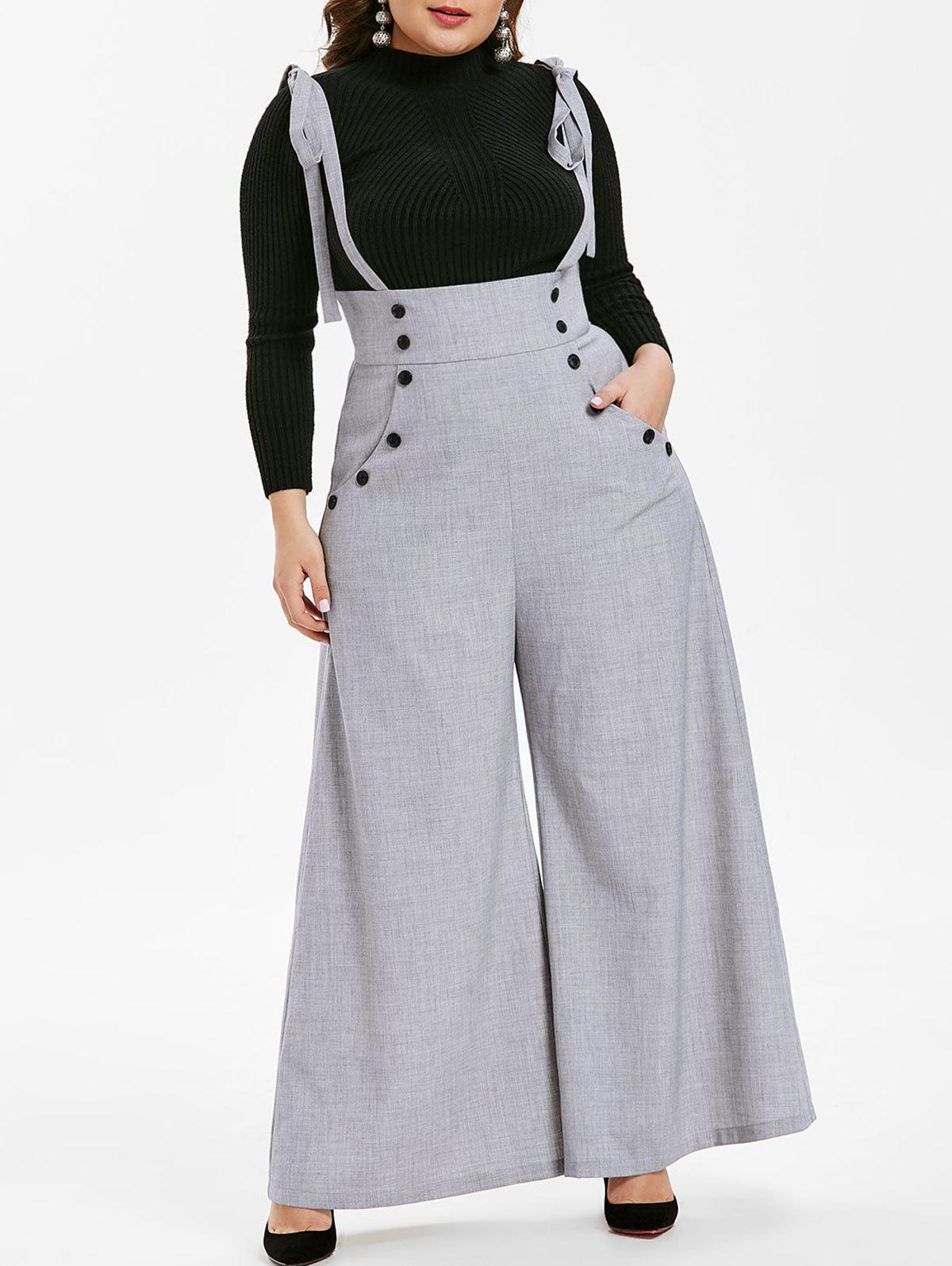 Shops Plus Size High Waist Suspender Wide Leg Pants