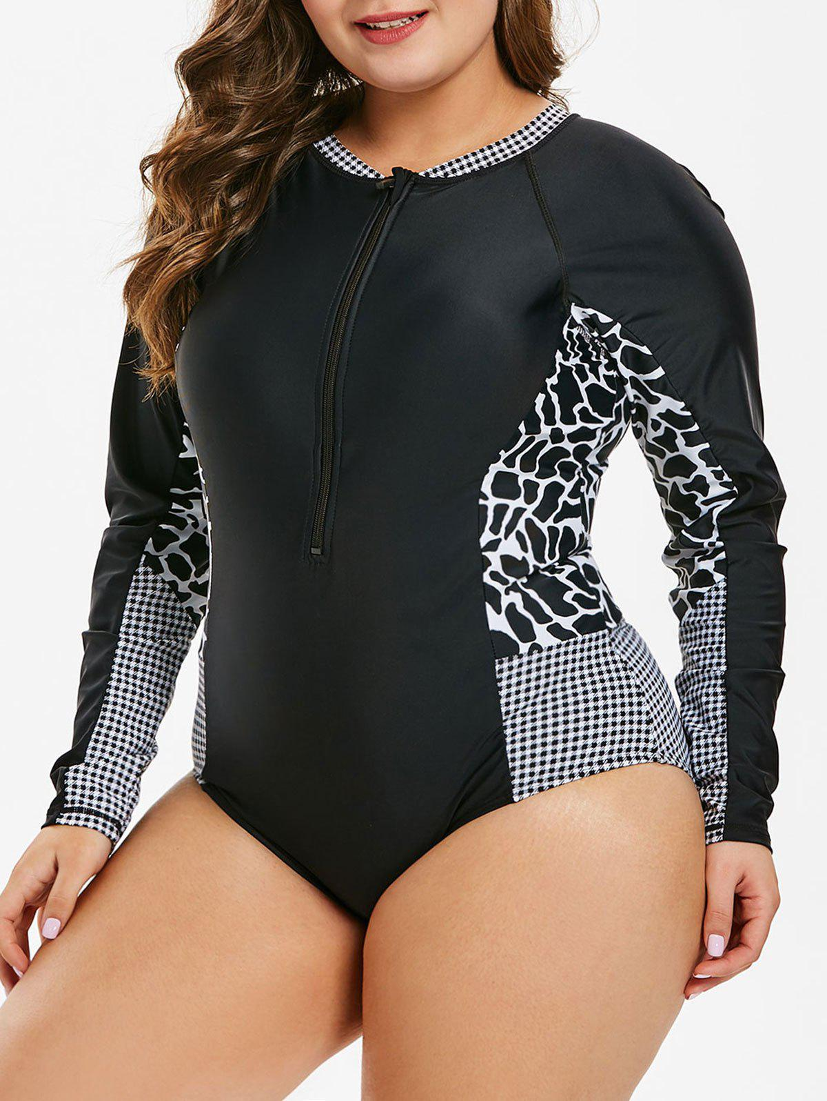 Cow Print Plus Size Zip Embellished Surf One-Piece Swimwear