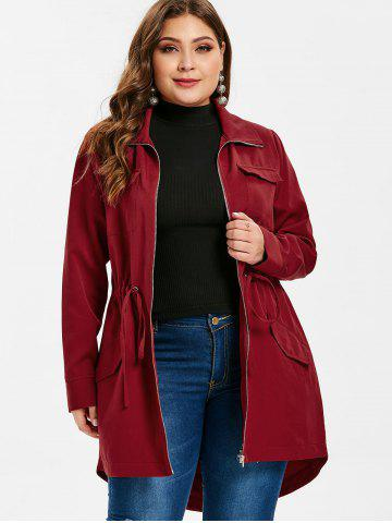 f48ca494283 Plus Size Drawstring High Low Long Coat
