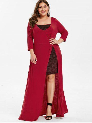 High Slit Maxi Plus Size Party Dress