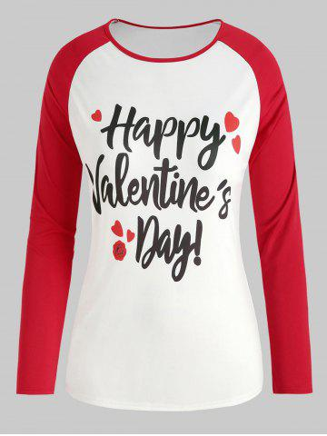 Valentine's Day Print Raglan Sleeve Plus Size Top