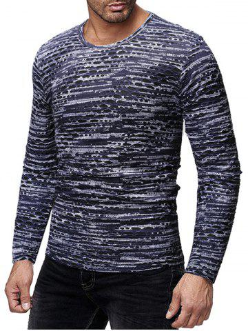 Round Neck Long Sleeves Patchworks T-shirt