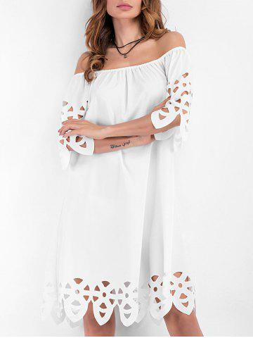 Off The Shoulder Hollow Out Mini Dress