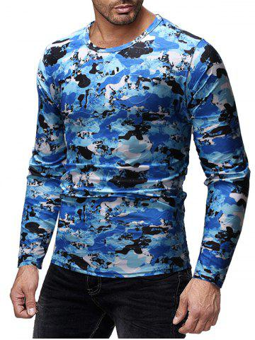 Camouflage Print Slim Fit Long Sleeves T-shirt