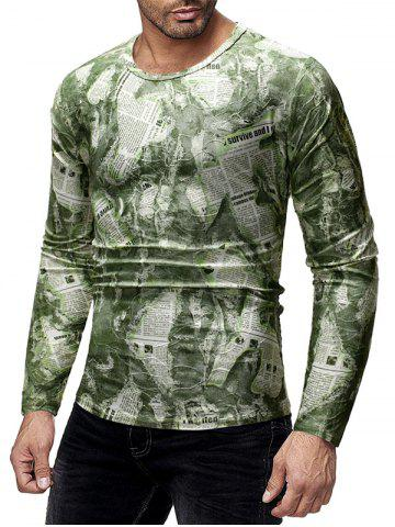 Ripped Newspaper Print Long Sleeves T-shirt