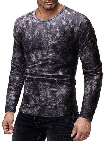 Long Sleeves Floral Print Slim Fit Casual T-shirt