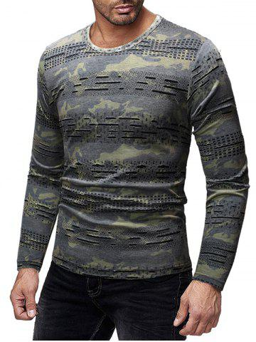 Camouflage Printed Patchworks Slim Fit T-shirt