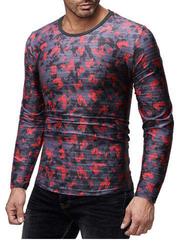 Butterflies Print Slim Fit Long Sleeves T-shirt