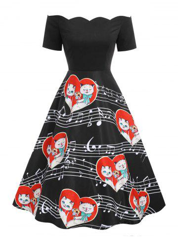Valentines Day Cats Couple Print Off The Shoulder Dress