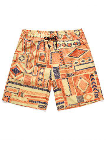 Short de Plage Gométrique Imprimé à Taille Basse - ORANGE - 2XL