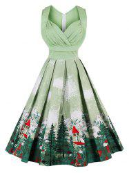 Vintage Forest Print Ruched Pin Up Dress -