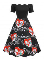 Valentines Day Cats Couple Print Off The Shoulder Dress -