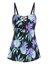 Lace Up Floral Print Swim Top -