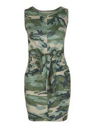 Front Knot Camouflage Print Mini Dress -