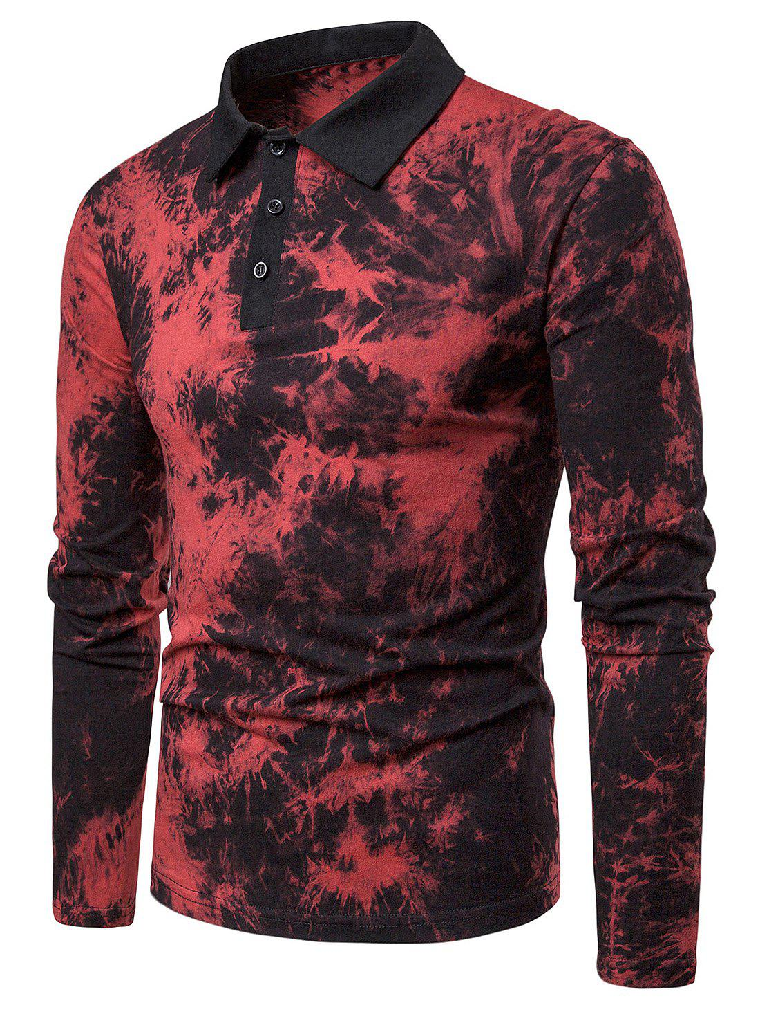Shop Collared Buttoned Tie Dye T-Shirt