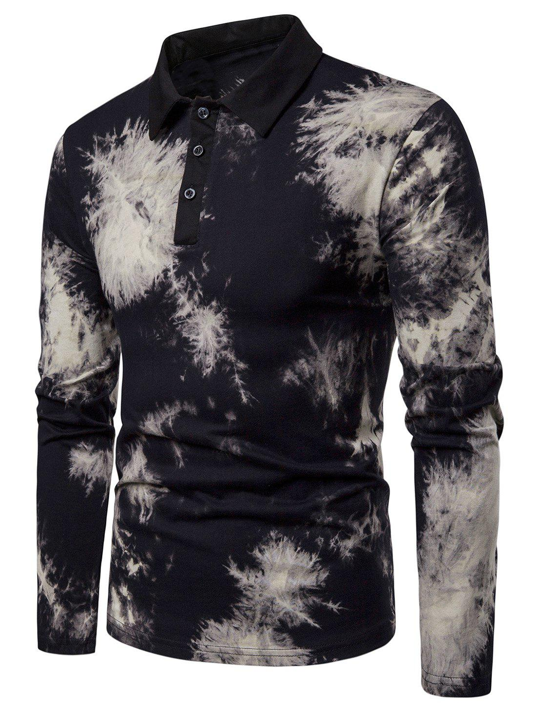 Store Collared Buttoned Tie Dye T-Shirt