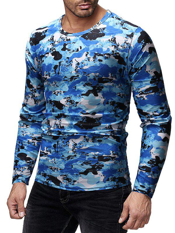 Unique Camouflage Print Slim Fit Long Sleeves T-shirt