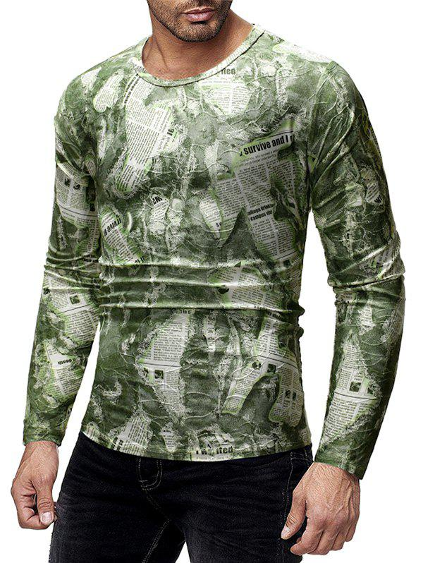 Store Ripped Newspaper Print Long Sleeves T-shirt