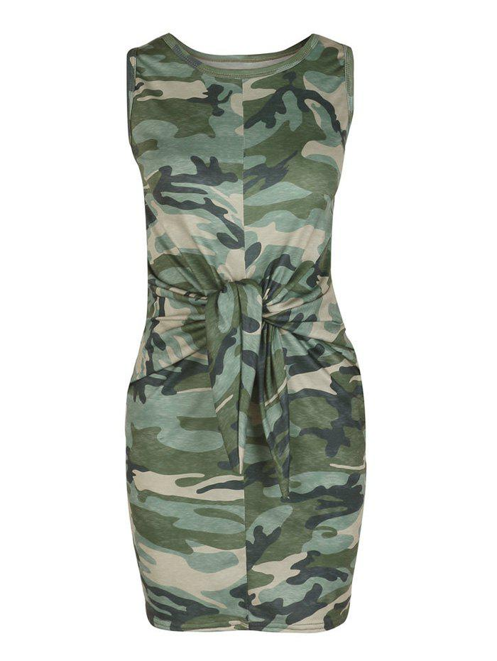 Cheap Front Knot Camouflage Print Mini Dress