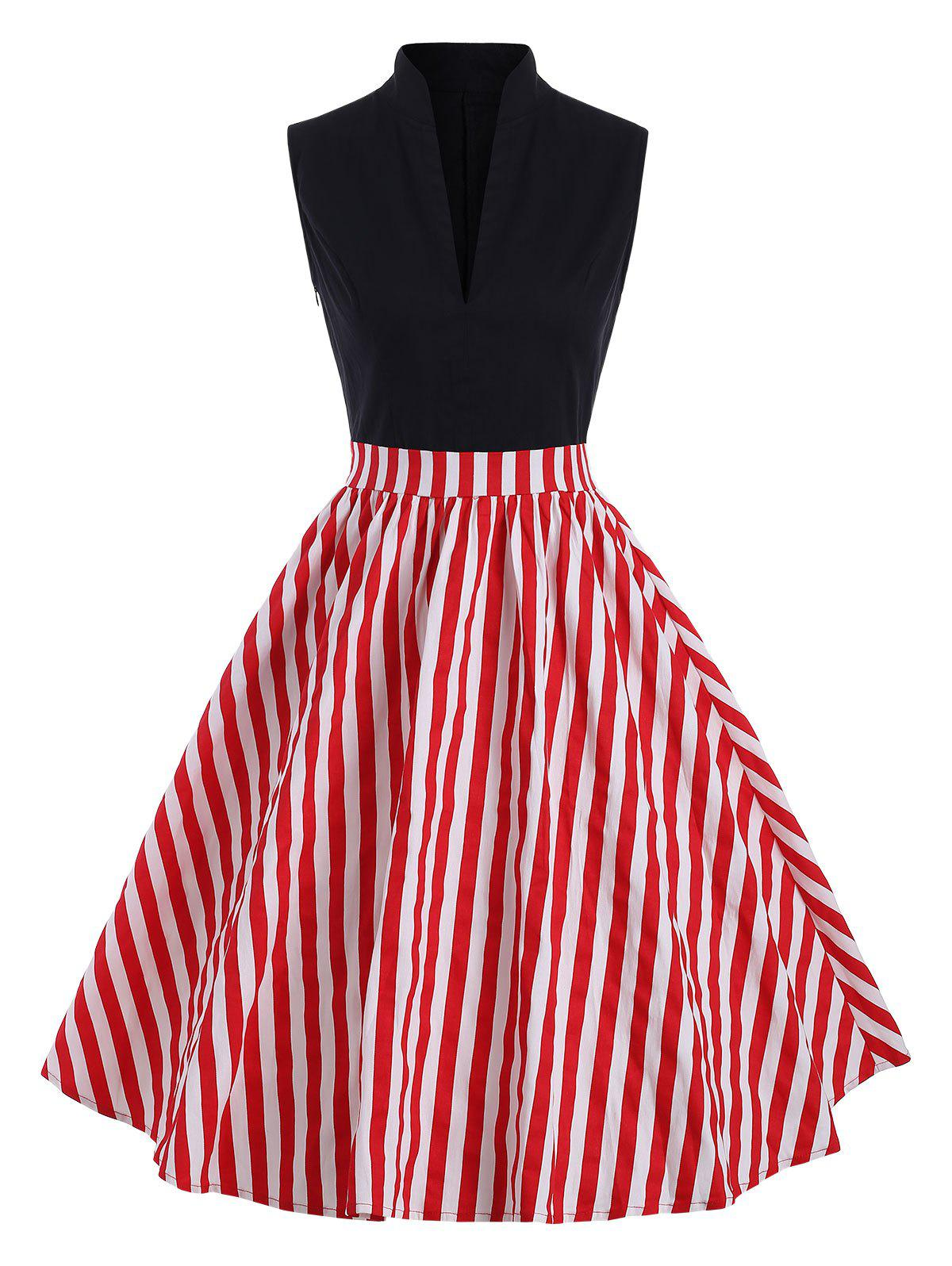 Discount Vintage Stand Collar Striped Dress