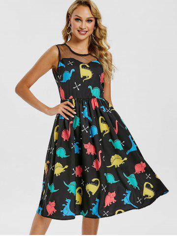Mesh Insert Cartoon Dinosaur Print Vintage Dress