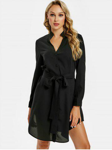Long Sleeve V Cut Belted Dress