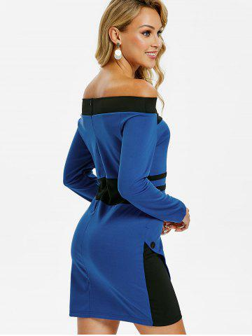 a589bcd3d225 Off Shoulder Blue Bodycon Dress - Free Shipping