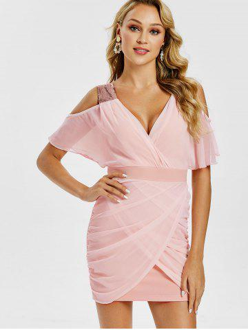 Cold Shoulder Sequins Ruched Mini Dress