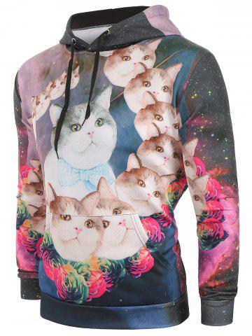 Galaxy Cats Flowers Print Pullover Hoodie