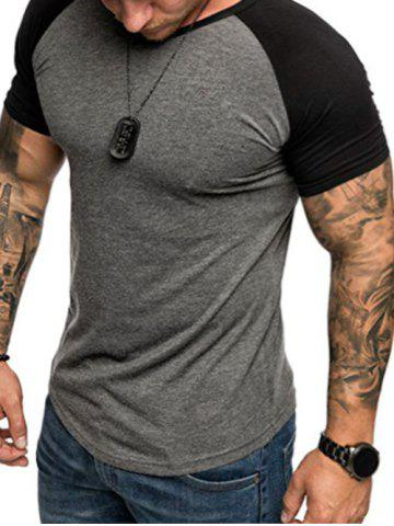 f6a0a9ce4b91 Round Neck Color Block Panel Short Sleeves T-shirt
